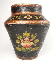 "Vintage Antique Rustic Papier Paper Mache Urn Vase Container 9"" High Hand Made"