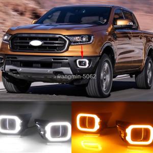 Pair LED Daytime Running Light  DRL W/ Turn For Ford Ranger XL XLS XLT 2018-2020