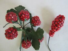 New listing Vtg Lot of Red Raspberry Berry Holiday Pick Floral Christmas Decor Crafts