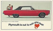 1967 Plymouth FURY III 4-Door Hardtop Original Dealer NOS Promotional Postcard