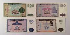 10 50 100 500 DRAM 1999 REPUBLIC OF ARMENIA BANKNOTES, 4 PCS, No-384!