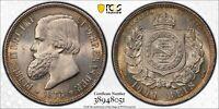 PCGS Brazil 1876 1000 Reis Petrus II Silver Coin Mint Lustre MS64