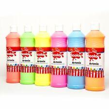6 x 600 ml Scola Ready Mixed Poster Paint Fluorescent Neon Colours Kids Paint