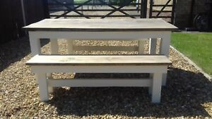 Hand made solid wood Farmhouse table and benches