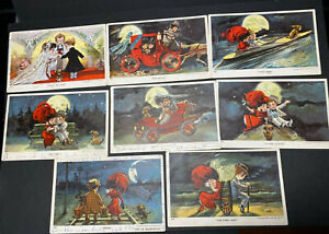 """(8) Vintage Postcards The Honeymoon Series No. 60 Children """"Tying knot - End of"""