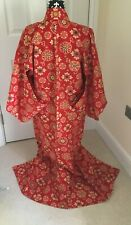 Vintage Japanese Ladies' Red Geometric/Floral Wool Komon/Kimono/Robe/Coat XS/S