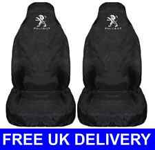 BLACK PAIR OF CAR SEAT COVERS PROTECTORS X2 WATERPROOF - FITS PEUGEOT 306