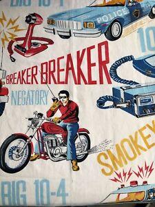 Vintage 80s CB Radio Themed Fabric Curtain Breaker Breaker 10-4 Cotton Blend