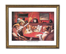 Dogs Playing Poker At Table #2 Wall Picture Gold Framed Art Print