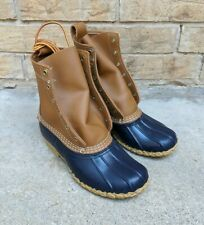 LL Bean Duck Boots lace up Blue Tan Women's 6 M made in USA NWOB 212880