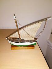 hand made beach art fishing boat