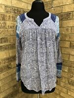Lucky Brand Women's Size M Blue/White Printed Peasant Boho Tunic Top