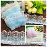 NEW DIY 3/5 Yards 3-Layer Pink Blue organza Lace Gathered Pleated sequined Trim