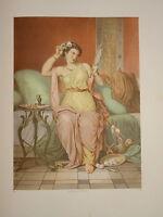 GRANDE LITHO COULEUR MES PORTRAIT FEMME TOILETTE MODE BEAUTÉ EMPIRE MIROIR 1870