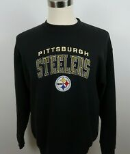 NFL Pittsburgh Steelers Mens Black Embroidered Sweatshirt Pro Player L USA Made