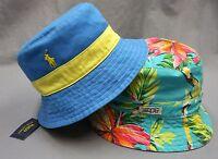 NWT POLO RALPH LAUREN REVERSIBLE BUCKET HAT CAP Mens Blue Aqua Floral New