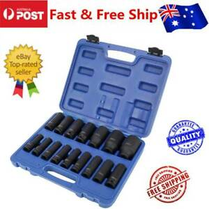 16Pcs 1/2 Inch Deep Air Impact Drive Metric Industrial Wrench Socket Set 10-32mm