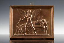 Amor & schlafende Psyche Thorvaldsen Klassizistisches Relief um 1860 Kupfer
