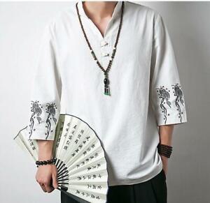 Men's Chinese Style Retro Oversize 3/4 Sleeve Summer Kung Fu T-shirt Soild Linen