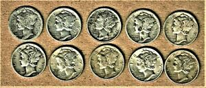 1916-s, 1923 thru 1940-s Winged Mercury Head .900 silver dime lot 10 coins