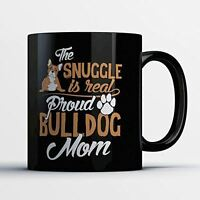 Bulldog Coffee Mug - Proud Bulldog Mom - Adorable 11 oz Black Ceramic Tea Cup -