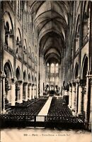 Vintage 1910s Large Nave, Notre-Dame Cathedral, Paris, France Postcard