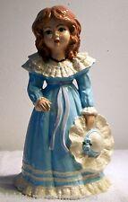"""Ceramic Southern Belle Girl / Lady in Blue Dress Holding Bonnet 14"""" - R.E. Luke"""