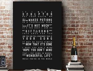Elton John Ellie Goulding Your Song | Wall Art Song Lyrics PRINT | CANVAS GIFT
