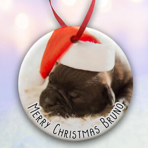 Personalised Pet Dog Cat Ceramic Christmas Tree Bauble Add a Photo Gift Boxed