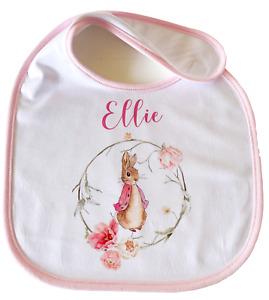 Personalised Flopsy Bunny ~ Baby bib pink Peter rabbit girl gift