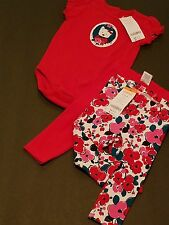 NEW Gymboree Baby Toddler Girl One Piece & Leggings 3 piece set 6-12 months CUTE