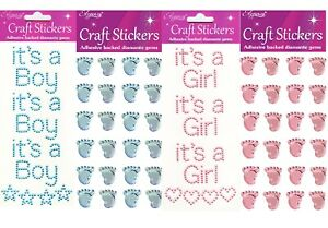ITS A BOY ITS A GIRL BABY SHOWER GENDER REVEAL 3D STICKERS CRAFT SELF ADHESIVE