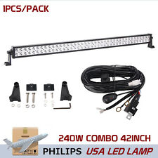 Philips 42inch 240W LED Driving Combo Work Light Bar Boat ATV With Wiring Kit