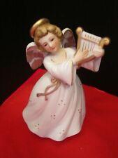berman anderson music box angel harp. vintage japan. white porcelain & gold