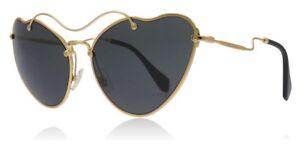 NEW Miu Miu MU55RS 7OE1A1 Cat Eye Sunglasses, Antique Gold / Grey Lens