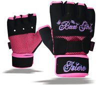 ISLERO Ladies Gel Gloves Boxing Hand Wraps Wrist Support Straps MMA Inner Glove