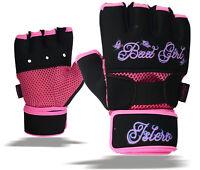 ISLERO Ladies Gel Gloves Boxing Hand Wraps Wrist Support Straps MMA Inner Glove