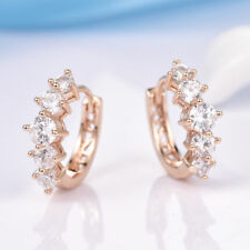 18K Yellow Gold White Crystal eye catching Hoop Earrings              336