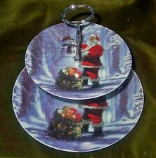 TWO TIER CAKE STAND Santa & Snowman New Boxed - Father Christmas Macneil Plate