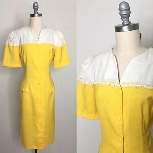Vintage 80s Breli II Yellow Sheath Dress Size Large