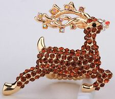 Santa's Brown Reindeer Deer Stretch Ring Crystal Rhinestone Animal Jewelry RA07