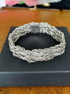 "Vintage Sterling Silver Wide Mesh Woven  Bracelet 7"" Free Shipping!"