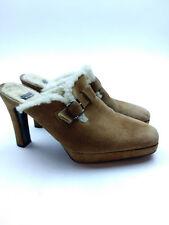 STUART WEITZMAN Mules Tan Suede SHEARLING Sherpa Lined Clogs Wood Heels 6.5
