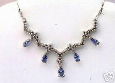 14k WG Tanzanite and Diamond Dangle Necklace