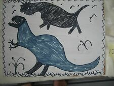 RA Miller  FOLK ART   DINOSAUR  Signed  painting  Outsider     #12