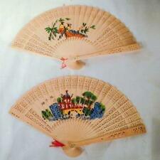 4 WOODEN HAND FAN air cool held purse wood fans  novelty womens ladies new BULK