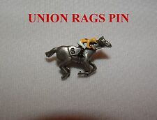 NEW UNION RAGS HAND PAINTED CHAMPAGNE STAKES BELMONT HORSE RACE JOCKEY SILKS PIN