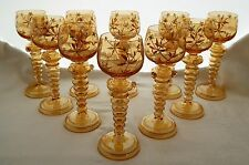 "Antique Venetian Amber Goblets. Handpainted Floral Bowl. Mouth-Blown.  7.5"" Tall"