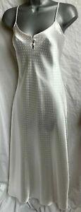 Cream satin silky nightie full slip pyjamas nightdress Ex BHS Size 8 10 12 NEW