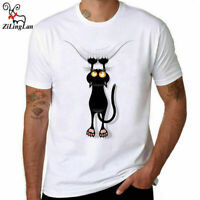 Black Cat Falling Down Funny T Shirts men cotton T-shirts Short Sleeve tops tee